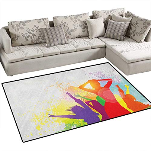 Girls,Carpet,Party Theme Splashing Dancing Girls Abstract Illustration Artistic Design Pattern,Print Area Rug,Multicolored Size:36