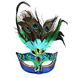 Aolvo Masquerade Mardi Gras Mask for Women Luxury Cat Eye Half Face Mask Venetian Peacock Costume Mask for Dancing Party Ball Halloween Prom Carnival Wedding Props, One Size Fits All, Blue and Green