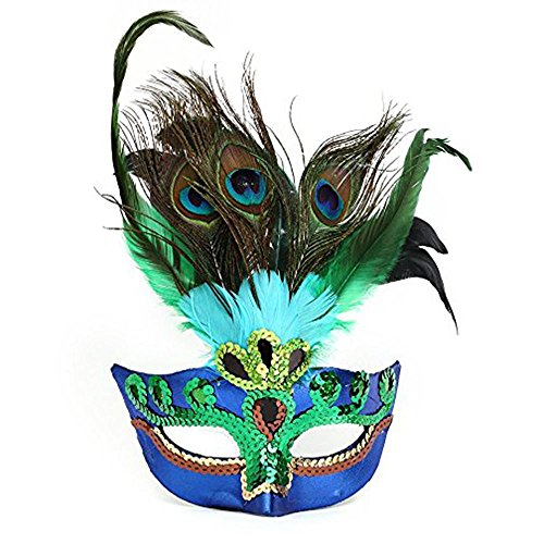Aolvo Masquerade Mardi Gras Mask for Women Luxury Cat Eye Half Face Mask Venetian Peacock Costume Mask for Dancing Party Ball Halloween Prom Carnival Wedding Props, One Size Fits All, Blue and Green ()
