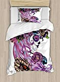 Gothic Decor Duvet Cover Set by Ambesonne, Day of the Dead Illustration with Sugar Skull Girl in Decorative Flower Wreath, 2 Piece Bedding Set with 1 Pillow Sham, Twin / Twin XL Size