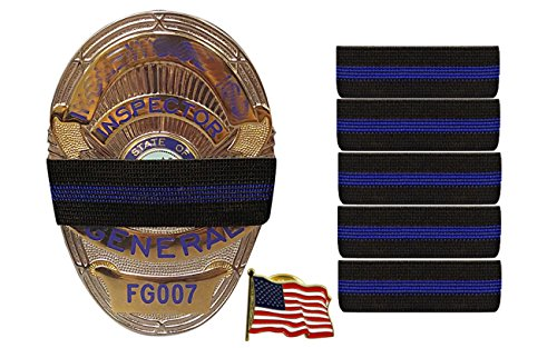 Bands of Mourning - Mourning Bands for Badges - Police - 5 Pack Blue Line (.75 Inches) - Mourning Band Blue & 1 Inch Free American Flag Pin. Show Unity for a Fallen Officer!
