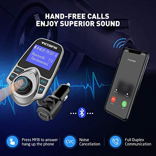 VicTsing Bluetooth FM Transmitter, Wireless Radio Transmitter Adapter Car Kit with 1.44 Inch Large...
