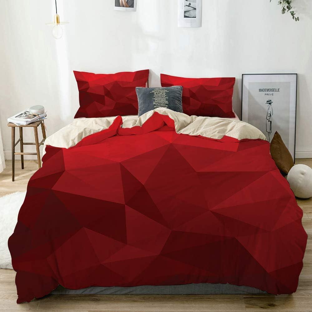 PANILUR Bedding Juego de Funda de Edredón,Mosaico Triangular en Tonos de Rojo con Efecto Low Poly geométrico y Abstracto,Microfibra Funda de Nórdico y Fundas de Almohada (Cama 150x200cm)