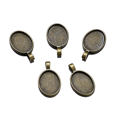 - Beadthoven 10pcs Oval Vintage Tibetan Style Alloy Pendant Cabochon Bezel Settings Fit Oval Tray in 25x18mm Jewelry Making Necklace Accessories (Nickel Free, Antique Bronze)
