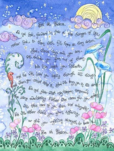 (Dovetail Ink Saint Francis de Sales - 'Be at Peace' Prayer Signed Art Print; Graduation, Confirmation, Sympathy Gift, Catholic, Christian, Salesian (5x7))