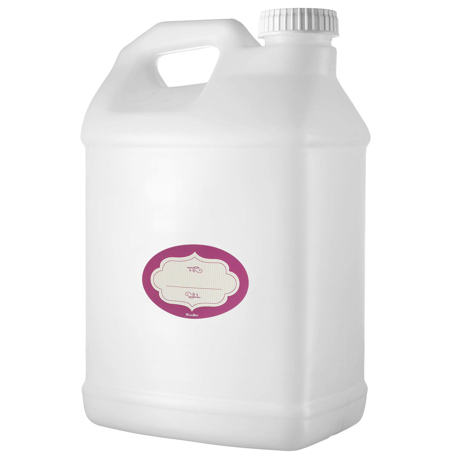 2.5 Gallon Natural F-Style Plastic Jug – 10 Quart Large Heavy-Duty Empty Container - with Airtight Pressure Sensitive Lids and Labels – Reusable Food-Safe BPA Free HDPE 10-Liter Water Bottle