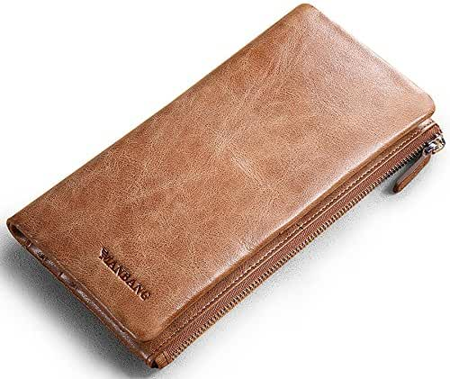 Genuine Cowhide Leather Handbag Organizer Card Case Zipper Long Bifold Wallet