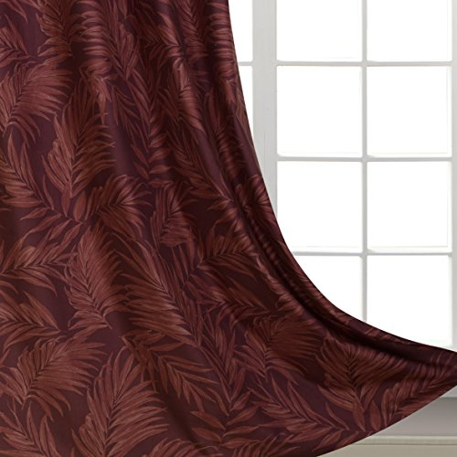 Print Velvet Curtains Leaves Pattern for Girls Bedroom Thick and soft Velvet with Palm Floarl Printing Perfect for Living Room Stainless Steel Grommet Top Red Burgundy 54