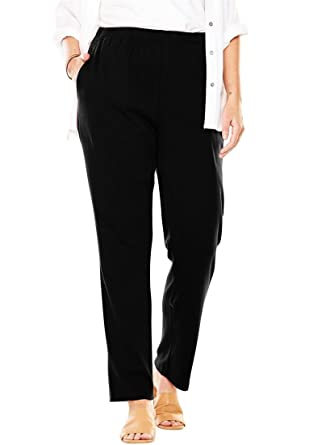 b99febd4705a8 Woman Within Plus Size Tall 7-Day Knit Straight Leg Pant at Amazon ...