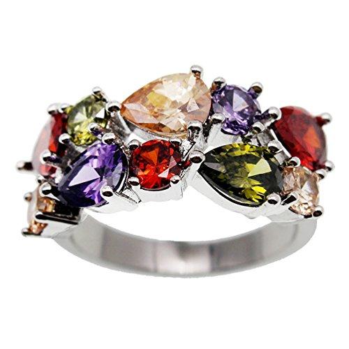 Vanessa Multi Gemstone Jewelry Sets for Women, Sparkling Garnet Amethyst Morganite Peridot Topaz Gifts for Her (10#Ring)