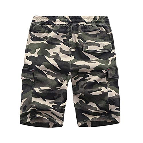 Leegor 2019 Men's Relaxed Fit Cargo Shorts Camouflage Joggers Sport Pants Casual Elastic Drawstring Climbing Trousers