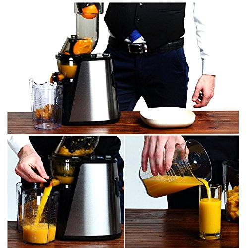 DULPLAY Juicer,Juicer Machine,Slow masticating,Juicer Extractor, Cold Press juicer Machine, with Juice jug and Brush to Clean,Fruit and Vegetable Juice -Silvery 56x26x26cm(22x10x10inch) by DULPLAY (Image #8)