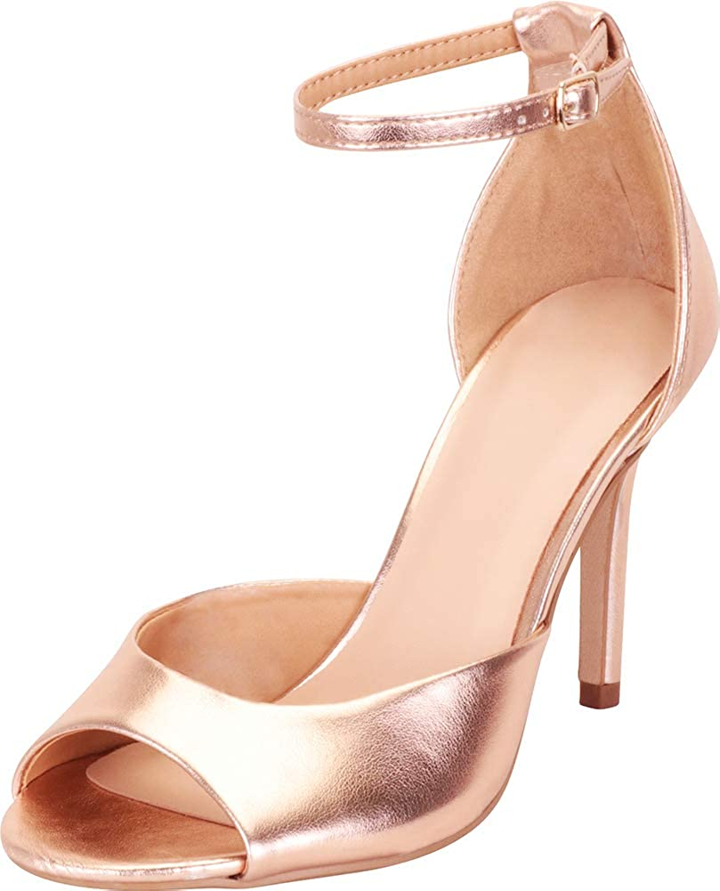 pink gold Pu Cambridge Select Women's Classic Open Toe Ankle Strap Stiletto High Heel Sandal
