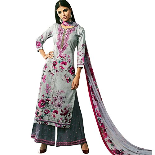 Ladyline Readymade Salwar Kameez Cotton Elegant Embroidered Printed with Palazzo Pants Indian Bollywood (Printed Kameez)