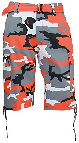 Regal Wear Mens Camouflage Cargo Shorts with Belt, Camo Orange, 42