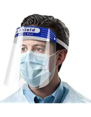 AIEOE Full Face Cover Safety Shield Face Protection Shields Face Shield Fogproof Dustproof Outdoor Sun Shield Hat Elastic Band Protect Face 10PC