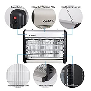 Mosquito Killer, Kapas Electric Mosquito Zapper Indoor Night Lamp, Mosquito Control, Mosquito Trap, Bug Zapper, Insect Zapper, Ideal for Indoor Home&Commercial Use 20W Bulbs (1, 13 x 11 x 4 inch)