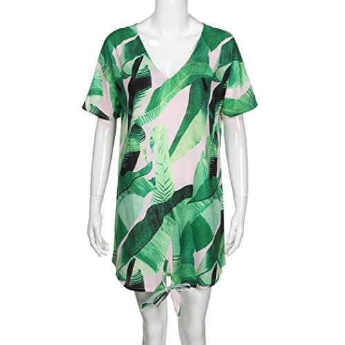 Fashion Print Beaching crystell Vacation Bohemian Sexy Beach Maxi Dress Short Chiffon Sleeve Mini Dresses Green Dress Women Dress 1zwqzgZxd