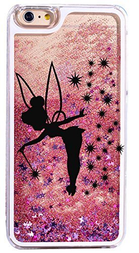 Dynamic quicksand glitter phone case cover for iPhone 6S / 6 - fairy in black (Disney Tinkerbell Glitter)