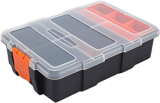 Caja de almacenamiento de herramientas de plástico, caja de organizador apilable impermeable portátil con compartimento divisor ajustable y extraíble para herramientas, tornillos, clavos, remaches: Amazon.es: Bricolaje y herramientas