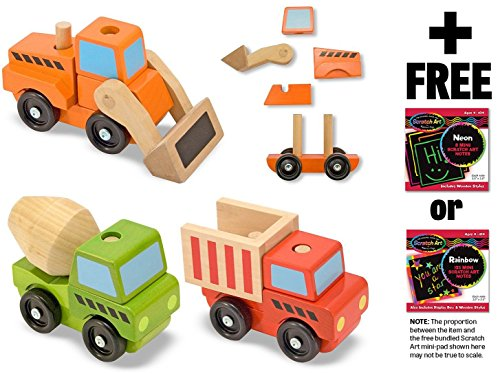 (Stacking Construction Vehicles + FREE Melissa & Doug Scratch Art Mini-Pad Bundle (30762) )