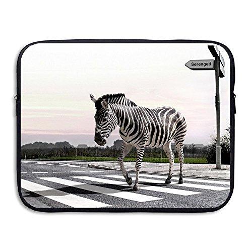 Custom Laptop Sleeve 13/15 Inch Chromebook Zipper Briefcase Zebra On The Zebra Crossing Print Portable Messenger Bag