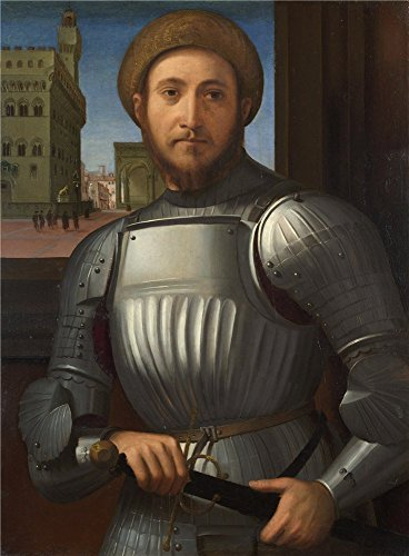 Oil Painting 'Francesco Granacci - Portrait Of A Man In Armour,about 1510' 16 x 22 inch / 41 x 55 cm , on High Definition HD canvas prints is for Gifts And Bath Room, Laundry Room And Powder R decor (Jefferson Old Vine)