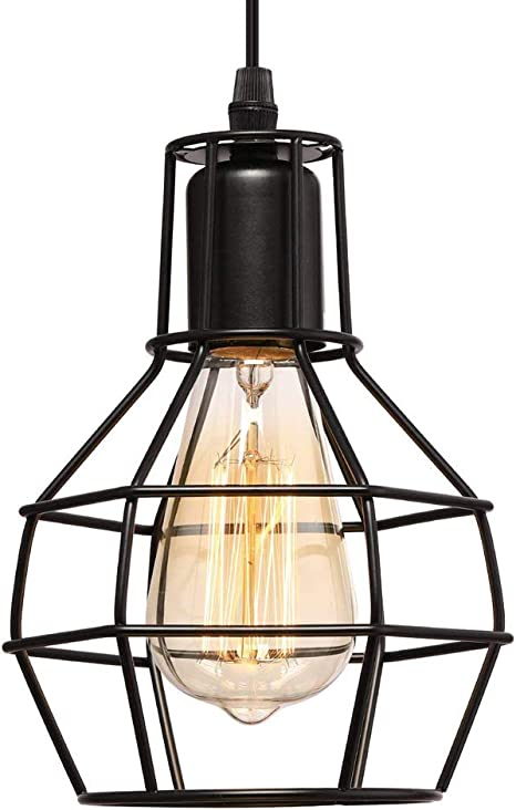 Industrial Metal Cage Ceiling Lamp Cafe Chandelier Pendent Hanging Retro Light
