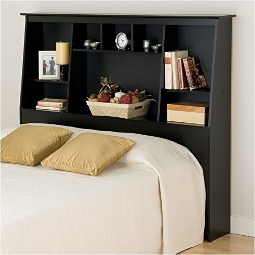 BOWERY HILL Slant-Back Tall Full Queen Bookcase Headboard in Black