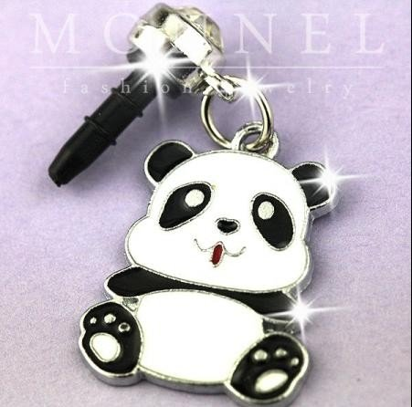 IP458-B Cute Fat Panda Baby Cell Phone Charm Dust Proof Plug Cover for iPhone Android 3.5mm ()