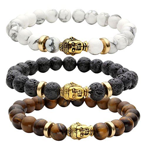 (JOVIVI 8MM Unisex Black Lava/Tiger Eye/ Lapis Energy Stone Mala Beads with Gold Buddha Bracelets)