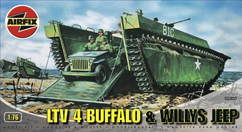 Vehicle Kit Amphibian (Airfix A02302 1:76 Scale Buffalo Amphibian and Jeep Military Vehicles Classic Kit Series 2)