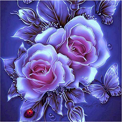 Diamond Painting Flower Mumuj Sale 5D Embroidery Paintings Rhinestone Pasted DIY Diamond Picture Cross Stitch Wall Decorations Sticker for Bedroom ()