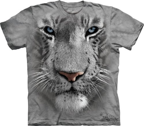 The Mountain White Tiger Face Child T-Shirt, Grey, Large