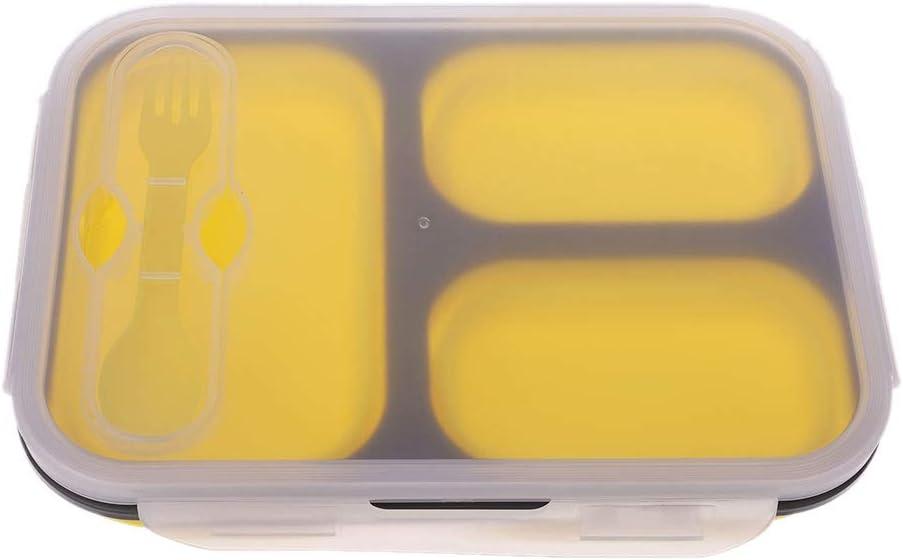 Kalttoy - Fiambrera plegable de silicona, 3 compartimentos, apta para microondas y lavavajillas: Amazon.es: Hogar