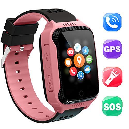 Niños Inteligente Relojes,GPS Tracker para Niños con cámara de Podómetro con Pantalla Táctil Llamadas SIM Anti-perdida SOS para Niñas Regalos de ...