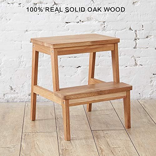 INMAN Utility Two Step Stool Safety Rail-Solid Oak Wood, Kids Adults Grandparents Pets Ladder Anti-slip Footrest Construction Bed Stairs Home Office Kitchen Closet Squatting Bathroom Toddlers Toile
