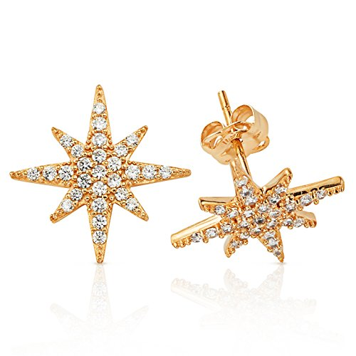 Sparkling CZ Encrusted Starburst Stud Earrings in 14K Yellow Gold (Gold Yellow Starburst 14k)