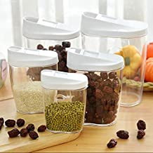 Premier Plastic Food Storage Cereal Containers Transparent Sealed Tank Food Storage Cans Dumping of Dried Fruit Snacks Flour Splenda Antibacterial Storage Tank,5-Piece Set