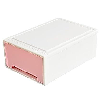 OUNONA Cajón de Almacenaje de Plástico Organizador Apilable Caja de Hogar Multifuncional (Rosa)