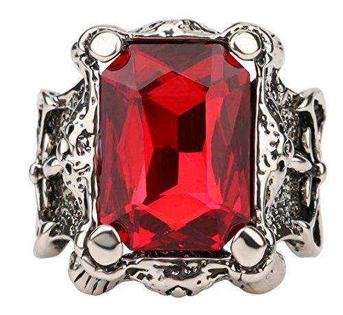 PSRINGS Big Green Bule Precious Stones Antique Zinc Alloy Ring Retro Cross Texture Engraving Model Red Sapphire Ruby 11.0