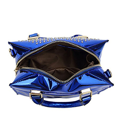 Bag Bright Wild Tote Shoulder Rivet Leather Fashion Bag Woman Capacity Blue Large Bag R155wpzHqn