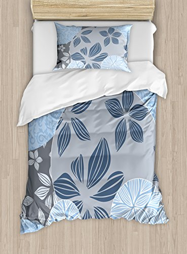 Pattern Elegance (Flower Duvet Cover Set by Ambesonne, Tropical Blooms inside Circular Shaped Forms Swirled Petals Elegance Pattern, 2 Piece Bedding Set with 1 Pillow Sham, Twin / Twin XL Size, Light Blue Grey)