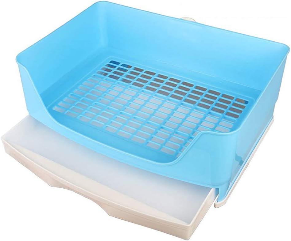 Baffect Bandeja de Basura de Conejo de Esquina Casa de Inodoro de Esquina, Caja de Arena de Jaula de Conejo de Gran tamaño con cajón extraíble para Conejo de Animal L (Azul)
