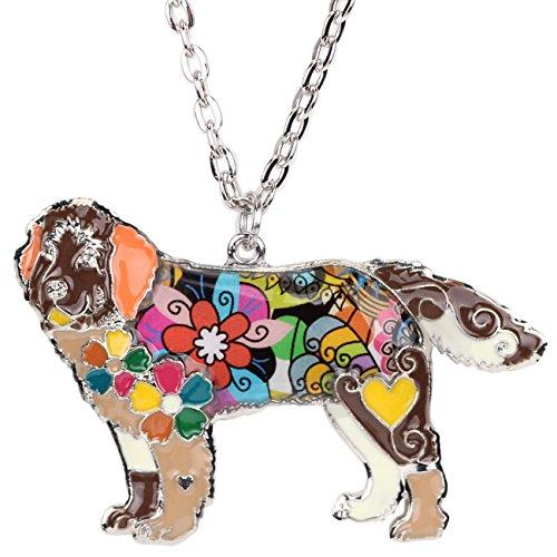 Newfoundland Dog Charm - BONSNY Dog Collection MAGNUM Statement Enamel Chain Newfoundland Hound Dog Necklace Pendant 18
