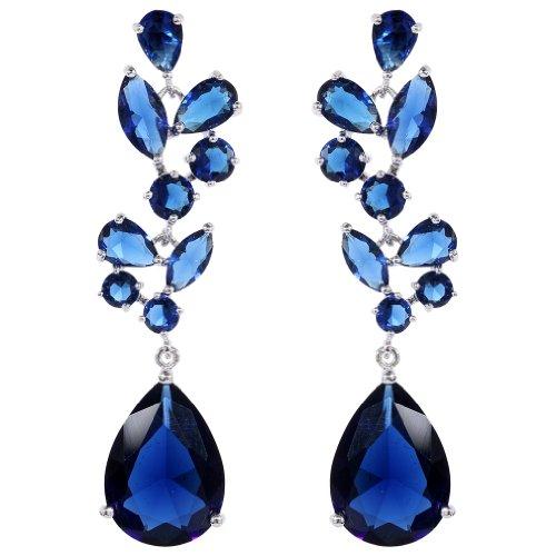 YAZILIND Chandelier Leaves Silver Plated Teardrop Sapphire Blue Cubic Zirconia CZ Post Dangle Earrings