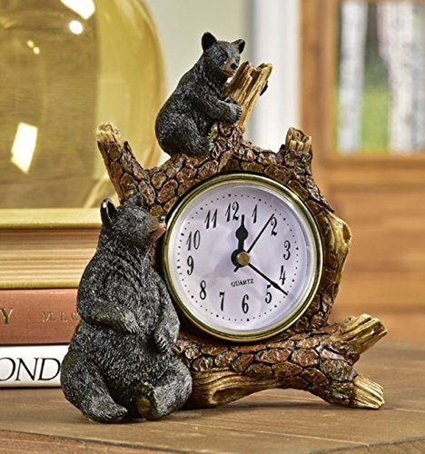 Desk Clock Bear (Giftcraft Polyresin Black Bears on Branch Table Clock)