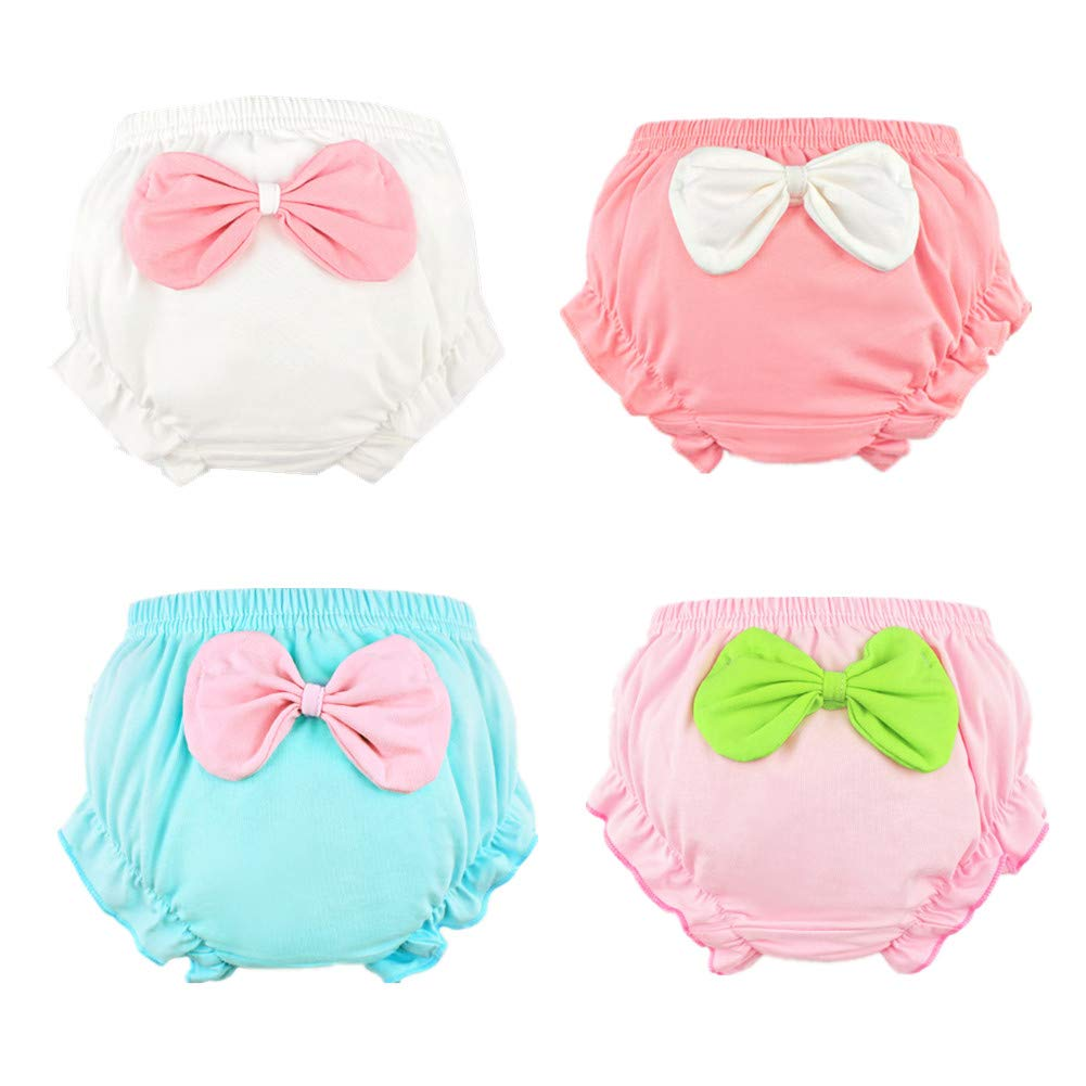Beide Baby Girls Cotton Ruffle Bowknot Shorts 4-Pack