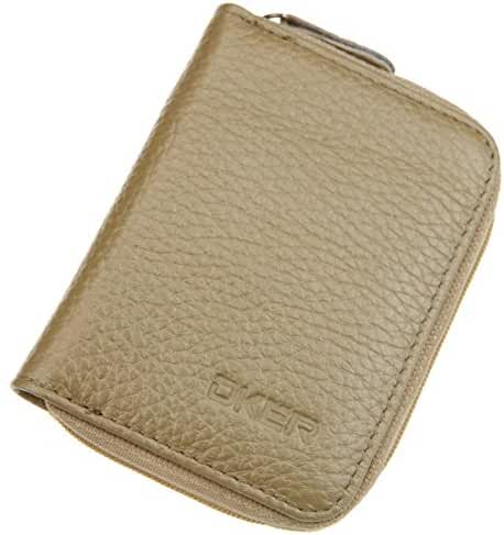 DEEZOMO Genuine Leather Mini Credit Card & Coin Wallet with Zipper for Men and Women