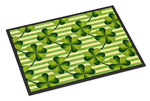 Caroline's Treasures Watercolor Shamrock Stripes Indoor or Outdoor Doormat 24